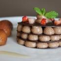 Millefoglie di cioccolato alla crema di castagna al ron.Milhojas de chocolate con crema de castañas al ron