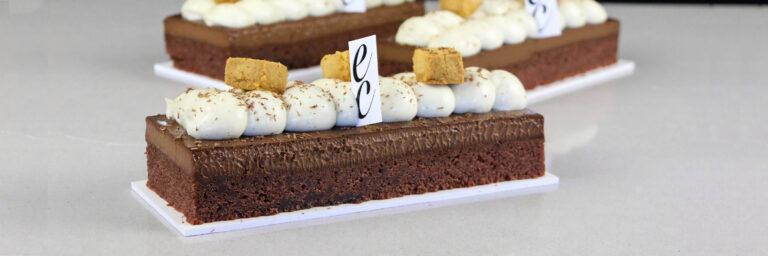 Financier con Chocolate cremeux y Namelaka de vainilla