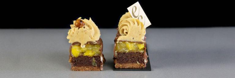Pastel de praline chocolate y mango