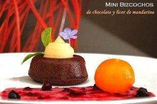 Bizcocho de chocolate con crema pastelera y licor de mandarina