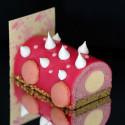 Bûche de frambuesa y vainilla con glaseado rosa