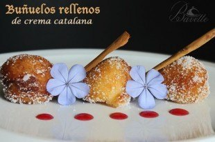 Buñuelos rellenos de crema catalana