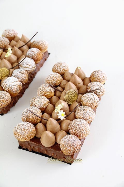 Tarta Brownie con cremoso de chocolate y Choux de vainilla