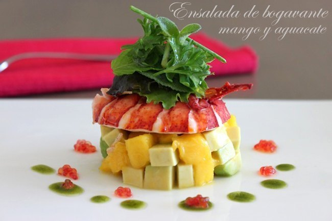 Ensalada de bogavante con mango
