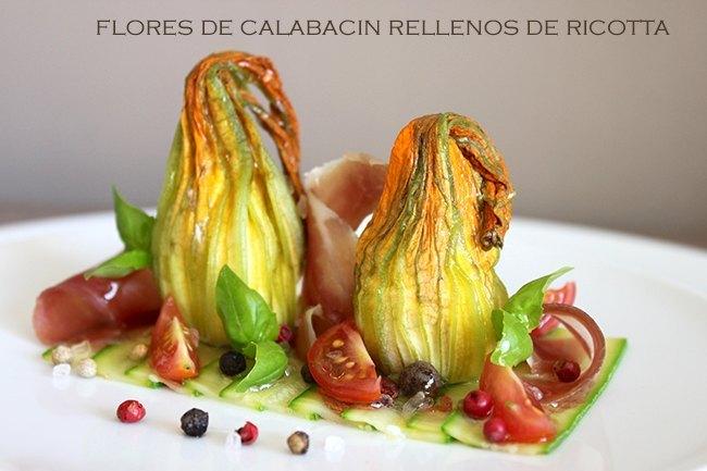 Flore de calabacín rellenas de ricotta y jamón