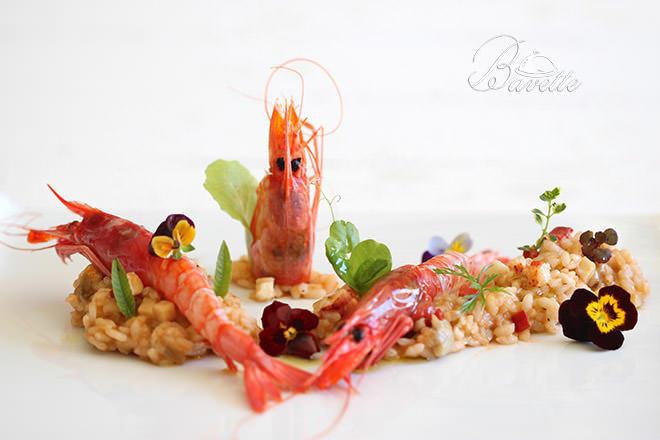 Gamba roja de La Garrucha sobre risotto de verdura