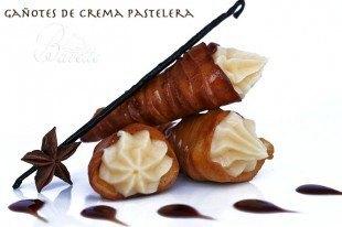 Gañotes con crema pastelera