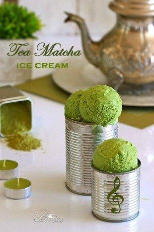 Helado de té Matcha