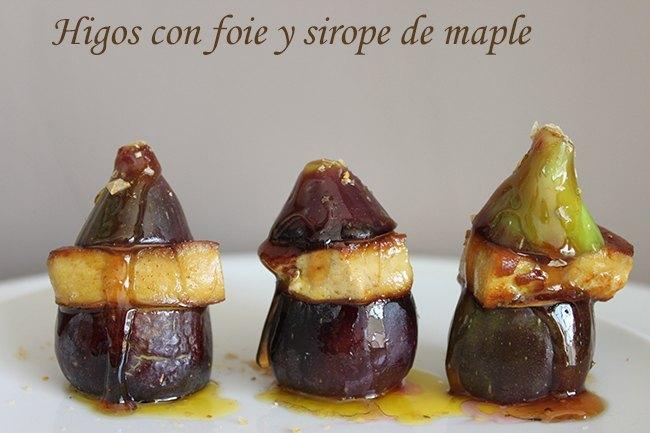 Higos al horno con foie ,sirope de maple y sal de especias