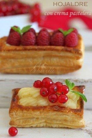 Hojaldre relleno de crema pastelera