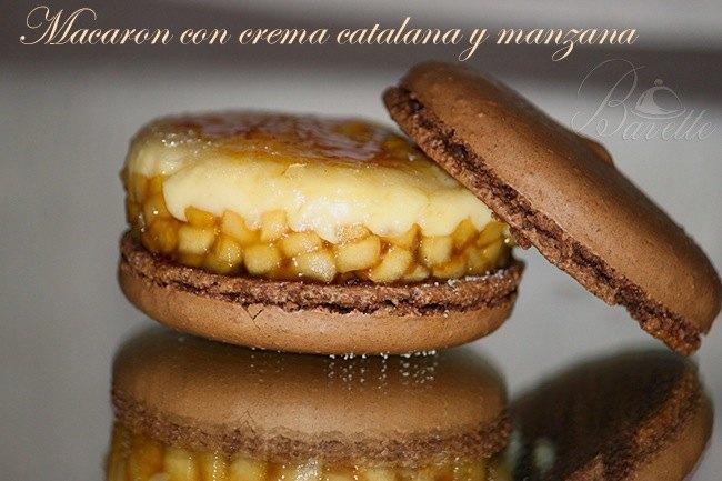 Macarón de chocolate y crema catalana