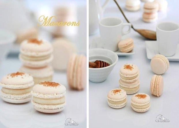 Macarons blancos con crema a la miel