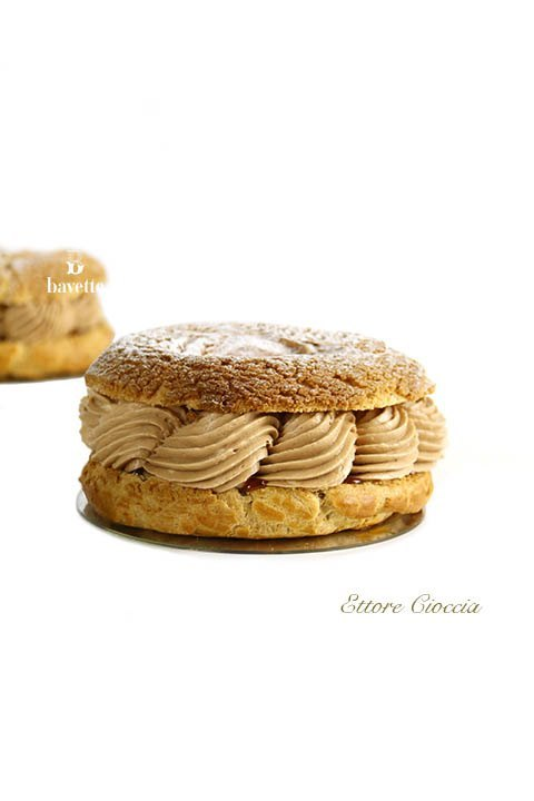 Paris-Brest craquelin con toffee y mousseline de chocolate