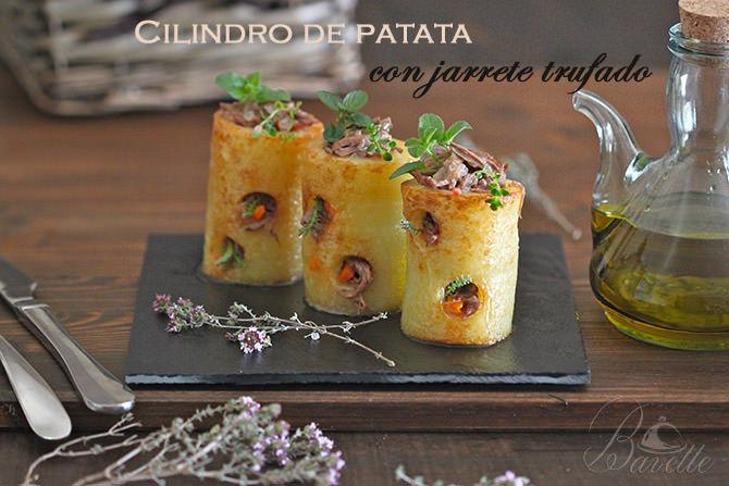 Cilindro de patata con jarrete trufado