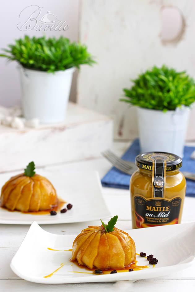 Timbal de manzana con pollo y mostaza a la miel