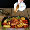 Pollo relleno de jamón cocido y salsa de mostaza