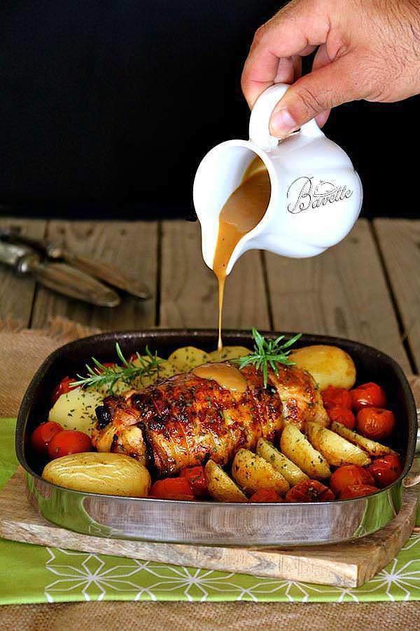 Pollo relleno de jam n dulce con salsa de mostaza bavette - Salsa para bogavante cocido ...