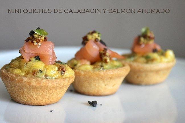 Mini quches de calabacín y salmón ahumado.