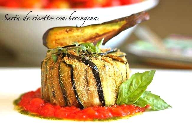 Sartù de risotto con berenjenas
