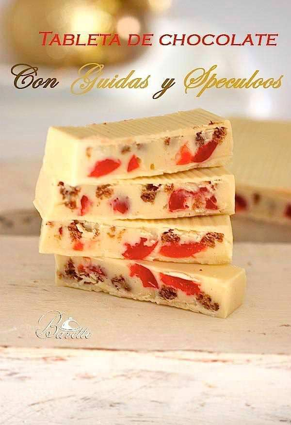 Tableta de chocolate blanco, con guindas y speculos