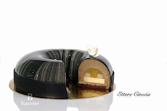 Tarta de chocolate y caramelo de pera con cremoso de miel