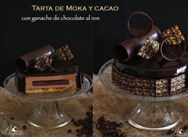 Tarta moka y cacao con ganache de chocolate y ron