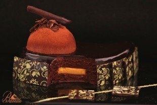 Mousse de chocolate, café y crema de mandarina