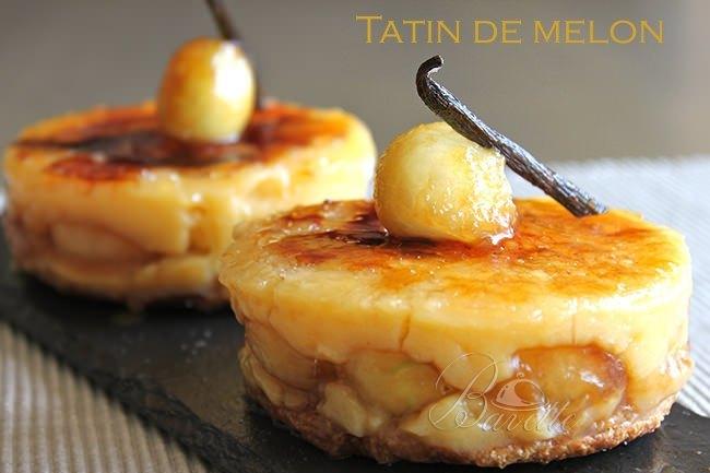 Tatin de melón con crema catalana
