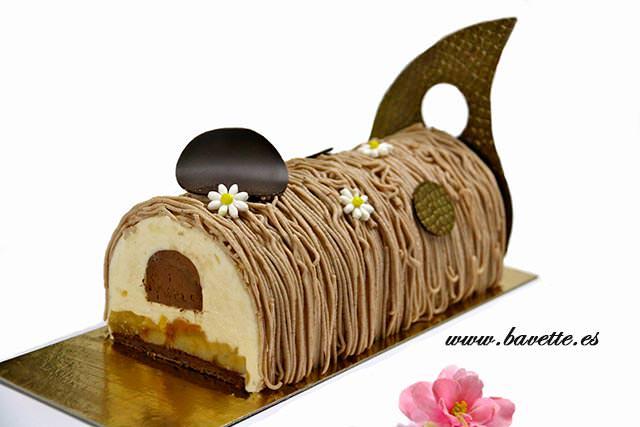 Bûche vainilla-chocolate con peras y crema de castañas